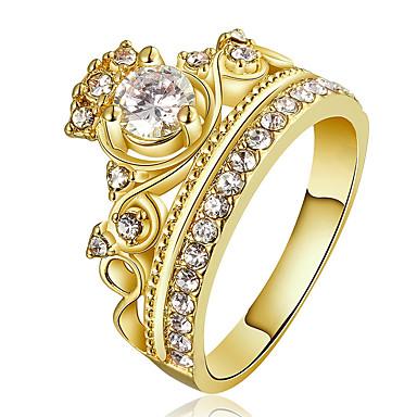 billige Fuskediamant-Dame Statement Ring Ring Forlovelsesring Krystall Kubisk Zirkonium Gull Rose Gull Kobber Gullbelagt Statement damer Personalisert Julegaver Bryllup Smykker Krone