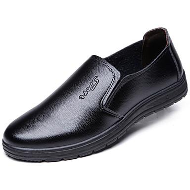 preiswerte Herrenschuhe-Herrn Kleid Müßiggänger Leder Frühling / Herbst Loafers & Slip-Ons Walking Schwarz / Braun / EU40