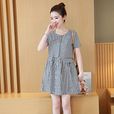 0c3b42aaf0 Women s Simple Cotton A Line Dress - Striped   Spring   Summer 5762419 2019  –  7.99
