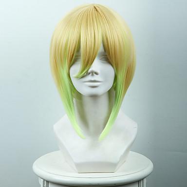 billige Kostymeparykk-Syntetiske parykker Kostymeparykker Rett Stil Lokkløs Parykk Nyanse Gul Syntetisk hår Dame Nyanse Parykk Kort