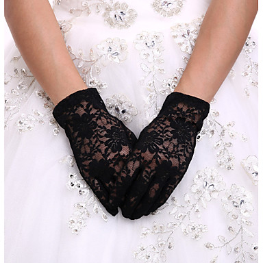 cheap Party Gloves-Spandex / Lace / Polyester Wrist Length Glove Classical / Bridal Gloves / Party / Evening Gloves With Solid