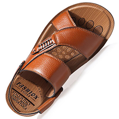 cheap Men's Sandals-Men's Comfort Shoes Spring / Summer Casual Casual Outdoor Sandals Walking Shoes Leather Breathable Khaki / Brown / Black / Rivet / EU40