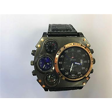 levne Pánské-JUBAOLI Pánské Sportovní hodinky Vojenské hodinky Lovecké hodinky Křemenný Kůže Černá / Khaki Kalendář Hodinky s dvojitým časem Cool Analogové Unikátní kreativní sledování - Tmavomodrá Červená Bíl
