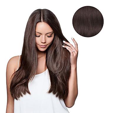 povoljno Ekstenzije od ljudske kose-S kopčom Proširenja ljudske kose Ravan kroj Ljudska kosa Ekstenzije od ljudske kose Tamnosmeđa
