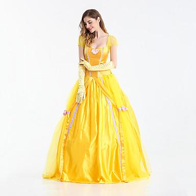 Princess Fairytale Belle Dress Women S Girls Movie Cosplay Yellow