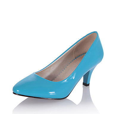 Women's Patent Leather Spring / Summer Formal Shoes Heels Kitten Heel Pointed Toe Beige / Navy Blue / Light Blue / Dress