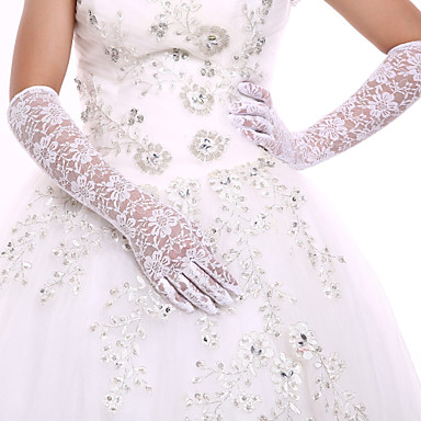 cheap Party Gloves-Lace / Cotton Wrist Length / Opera Length Glove Charm / Stylish / Bridal Gloves With Embroidery / Solid