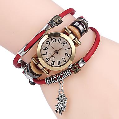 levne Pánské-Dámské Náramkové hodinky hodinky zábalu Křemenný Kůže Černá / Bílá / Modrá Cool Analogové dámy Na běžné nošení - Kávová Hnědá Červená
