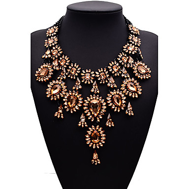 cheap Necklaces-Women's Chocolate Synthetic Diamond Statement Necklace Pear Cut Bib Ladies Fashion Euramerican Victorian Synthetic Gemstones Alloy Cuticolor White Red Gold Green Necklace Jewelry For Wedding Party