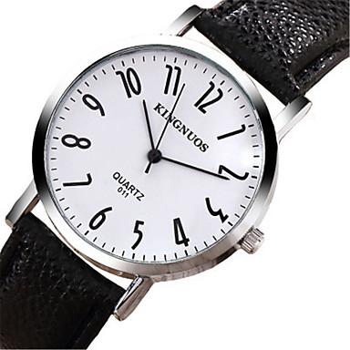 levne Pánské-KINGNUOS Dámské Módní hodinky Křemenný Kůže Černá 30 m Cool Analogové Na běžné nošení - Bílá Černá / Nerez