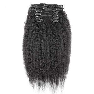 povoljno Rasprodaja-PANSY S kopčom Proširenja ljudske kose Kovrčav Ljudska kosa Ekstenzije od ljudske kose Brazilska kosa Žene Crna