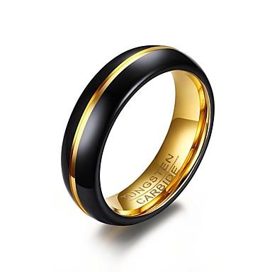 levne Pánské šperky-Pánské Prsten Černá Nerez Pozlacené Volframová ocel Kulatý Circle Shape Geometric Shape Přizpůsobeno Základní minimalistický styl Párty Výročí Šperky Dvoubarevné