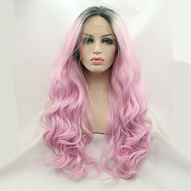 Synthetic Lace Front Wig Natural Wave Synthetic Hair Dark Roots / Natural Hairline / Middle Part Pink Wig Women's Medium Length / Long