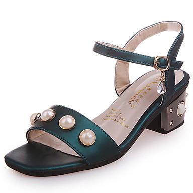 Mujer Zapatos PU Verano Talón Descubierto Sandalias Tacón Plano Perla de Imitación Negro / Beige / Verde KfMI8INn9M