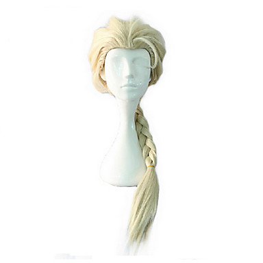 billige Kostymeparykk-Syntetiske parykker Krøllet Stil Parykk Blond Veldig lang Blond Grå Syntetisk hår Dame Parykk med fletter Afrikanske fletter Blond Grå Parykk hairjoy