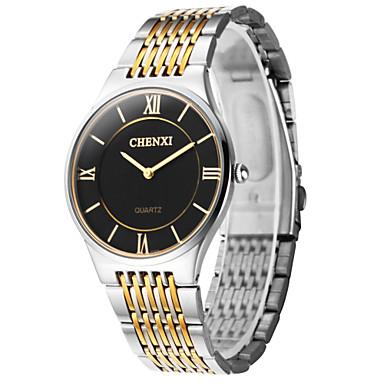 levne Pánské-CHENXI® Pánské Náramkové hodinky Křemenný Nerez Stříbro Hodinky na běžné nošení Analogové Přívěšky Jednoduché hodinky - Zlatá Bílá Černá