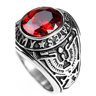 cheap Men's Rings-Men's Statement Ring Ring Sapphire Black Red Green Titanium Steel Personalized Punk Rock Christmas Gifts Party Jewelry Solitaire Round Cut High School Rings Class Magic