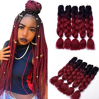 5pcs Box Braids Jumbo Hair Extensions 1b Wine Red Color Kanekalon 500g 5789630 2018 31 99