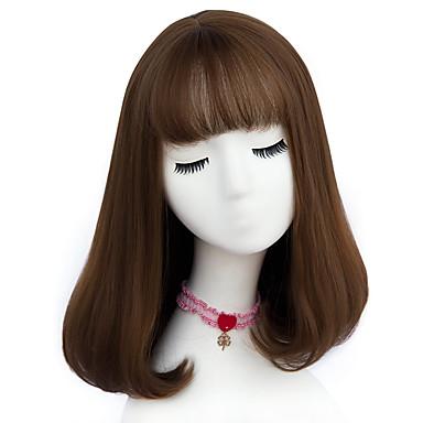 povoljno Perike i ekstenzije-Sintetičke perike Stil Capless Perika Ash Brown Bež Siva Sintentička kosa Žene Perika Srednja dužina