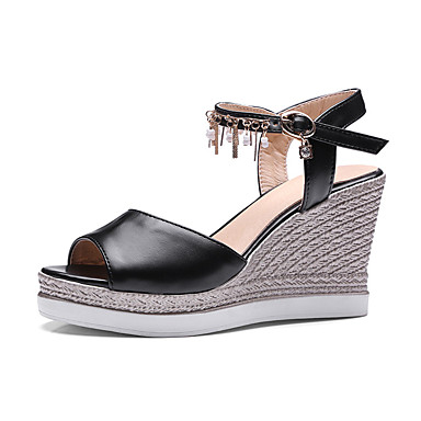 Zapatos beige Tacón de cuña de punta abierta formales para mujer yhpVG9BpZK