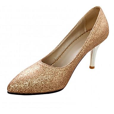 Mujer Zapatos PU Primavera verano Pump Básico Tacones Paseo Tacón Stiletto Dedo Puntiagudo Dorado / Plata ZsMO3MEK