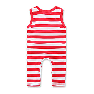 povoljno Odjeća za bebe-Dijete Djevojčice Na prugice Dungi / Moda Bez rukávů Pamuk Kombinezon Fuksija / Dijete koje je tek prohodalo