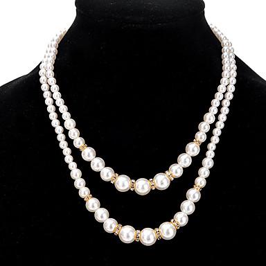levne Dámské šperky-Dámské Strands Náhrdelník Dvojité dámy Slitina Zlatá Stříbrná Náhrdelníky Šperky Pro Párty Denní Ležérní