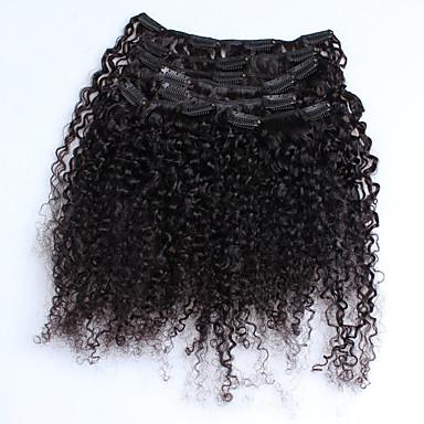 preiswerte Echthaar Haarverlängerungen-Mit Clip Haarverlängerungen Kinky Curly Echthaar Echthaar Haarverlängerungen Damen Natürlich Schwarz