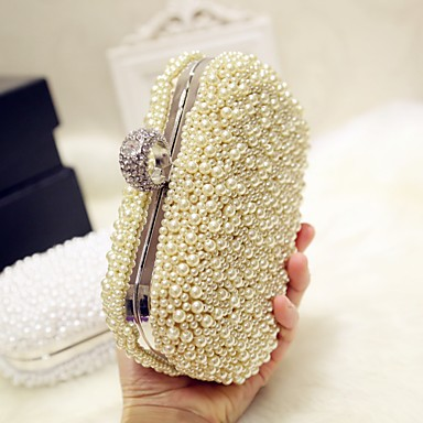 cheap Clutches & Evening Bags-Women's Bags Silk Evening Bag Pearls Solid Colored for Party / Event / Party / Party & Evening White / Pink / Wedding Bags