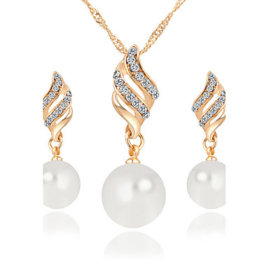 cheap Crystal Jewelry Sets-Women's Jewelry Set Pendant Necklace / Earrings Infinity Ladies Luxury Dangling Pearl Fashion Elegant Crystal Imitation Pearl Rhinestone Earrings Jewelry Gold / Silver For Christmas Gifts Wedding