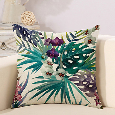 cheap Throw Pillow Covers-Cushion Cover 1PC Linen Soft Decorative Square Throw Pillow Cover Cushion Case Pillowcase for Sofa Bedroom 45 x 45 cm (18 x 18 Inch) Superior Quality Mashine Washable Pack of 1