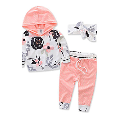 cheap Kids Collection Under $8.99-Toddler Unisex Floral Dresswear Floral Sports Fashion Long Sleeve Regular Regular Cotton Clothing Set Orange