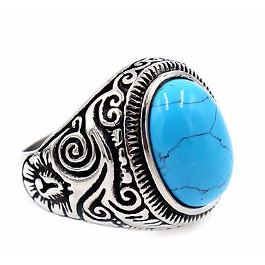 levne Dámské šperky-Pánské Prsten Pečetní prsten prstenec Tyrkysová Topaz Černá Hnědá Bílá Nerez Titanová ocel Sopečné sklo Kulatý dámy Jedinečný design Základní Děkuji Denní Šperky Ryté
