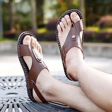 baratos Sapatos Masculinos-Homens Sapatos Confortáveis Primavera / Verão Casual Casual Praia Sandálias Caminhada Couro Ecológico Respirável Khaki / Azul / Marron Slogan / Miçangas / EU40