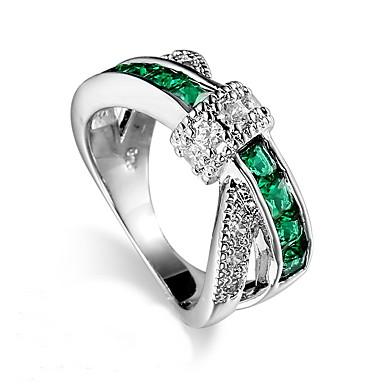 levne Pánské šperky-Pánské Dámské Prsten Syntetický smaragd Tmavě zelená Zirkon Slitina Jedinečný design Módní Euramerican Svatební Zvláštní příležitosti Šperky