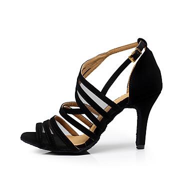 cheap Latin Shoes-Women's Flocking Buckle Sandal Buckle Stiletto Heel Customizable Dance Shoes Black / Practice / EU42