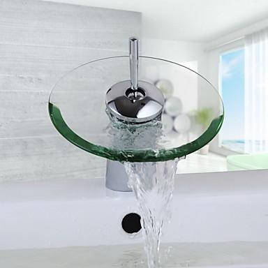 Badrum Tvättställ Kran - Vattenfall Krom Centerset Ett hål / Singel Handtag Ett hålBath Taps / Mässing
