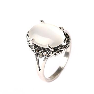 billige Motering-Dame Ring Kubisk Zirkonium Hvit Legering Oval Grunnleggende jubileum Smykker