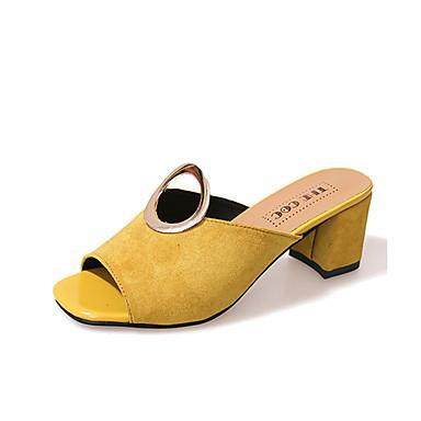 Mujer Zapatos Cuero de Napa Verano Confort Bailarinas Talón de bloque Punta cerrada Negro MJNhM