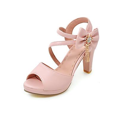 Mujer Zapatos PU Verano Confort Sandalias Tacón Cuña Punta abierta Flor de Satén Negro / Almendra / Fiesta y Noche / Fiesta y Noche DEmL4C