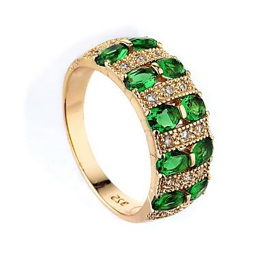 levne Dámské šperky-Dámské Prsten Syntetický smaragd Tmavě zelená Zirkon Slitina dámy Jedinečný design Módní Svatební Zvláštní příležitosti Šperky