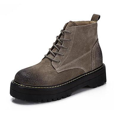 Mujer Zapatos Cuero de Cerdo Otoño Confort Botas Tacón Bajo Botines / Hasta el Tobillo Negro / Caqui zzSIjw