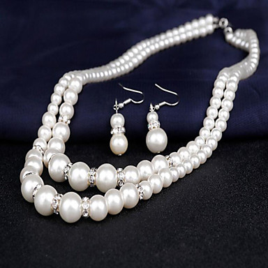 cheap Jewelry Sets-Women's Pearl Necklace Earrings Bridal Jewelry Sets Double Strand Ladies Double-layer Elegant Pearl Earrings Jewelry White For Wedding Party Engagement Gift Daily Masquerade