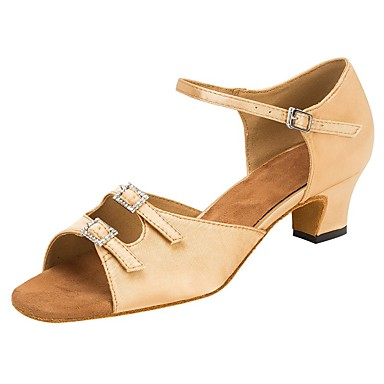 preiswerte Samba Tanzschuhe-Damen Tanzschuhe Satin Schuhe für den lateinamerikanischen Tanz Strass / Schnalle Sandalen / Absätze Maßgefertigter Absatz Maßfertigung Knackmandel / Professionell / EU39