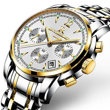 levne Pánské-Pánské Náramkové hodinky Letecké hodinky japonština Japonské Quartz Velkoformátové Šestičlenná šesticípá Nerez Černá / Bílá 30 m Voděodolné Kalendář Svítící Analogové Luxus Na běžné nošení Módn