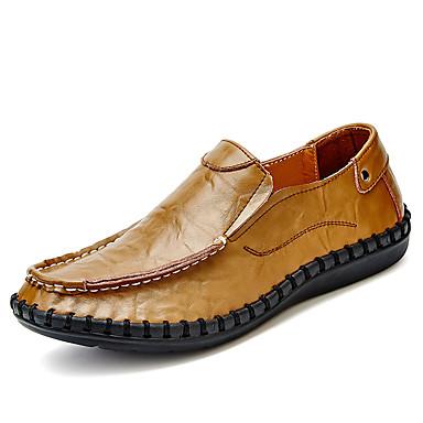 Hombre Zapatos Cuero Sintético Primavera / Verano Confort Zapatos de taco bajo y Slip-On Blanco / Negro wdccEX