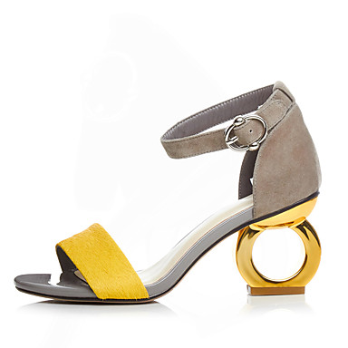 cheap Women's Sandals-Women's Sandals Spring / Summer Sculptural Heel Open Toe Buckle Suede Screen Color / Black / Yellow / EU39