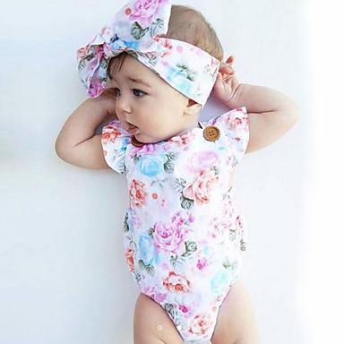 preiswerte Einteiler für kleine Mädchen-Baby Mädchen Blumig Modisch / Vintage Druck Ärmellos Baumwolle Body Weiß