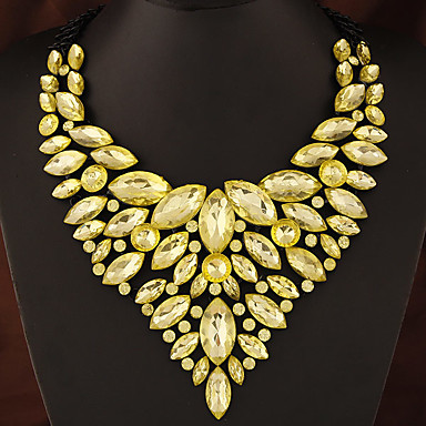 cheap Necklaces-Women's Sapphire Crystal Statement Necklace Bib necklace Pear Cut Bib Chunky Statement Ladies Luxury Elegant Synthetic Gemstones Zircon Yellow Red Blue Green Rainbow Necklace Jewelry For Party