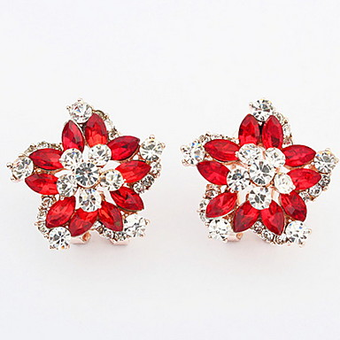 Synthetic Diamond Stud Earrings Hoop Rhinestone Flower Dainty Personalized Vintage Red Blue Rainbow For Wedding Party Daily 5916628 2018